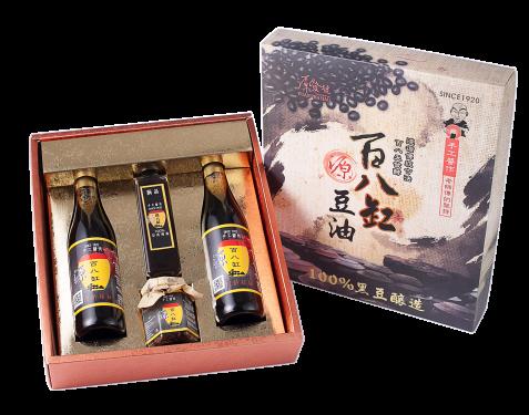 百八缸 2瓶滷香四溢+1缸底蔭油+1瓶烏豆鼓  共四瓶裝精選伴手禮盒